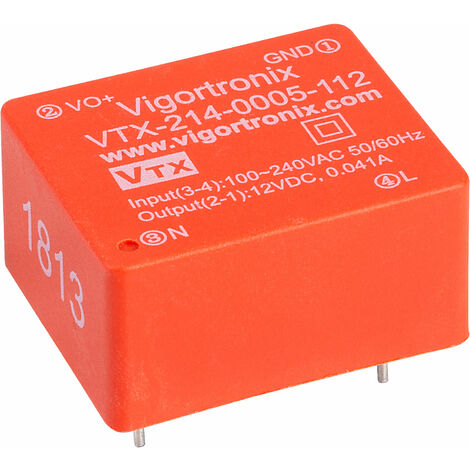 Vigortronix VTX-214-0005-112 0.5W SMPS AC-DC CONVERTER 12V