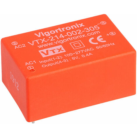 Vigortronix VTX-214-002-305 2W HIGH PERFORMANCE AC-DC CONVERTER 85-305V - 5V
