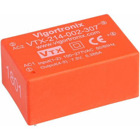 Vigortronix VTX-214-002-307 2W HIGH PERFORMANCE AC-DC CONVERTER 85-305V - 7.5V