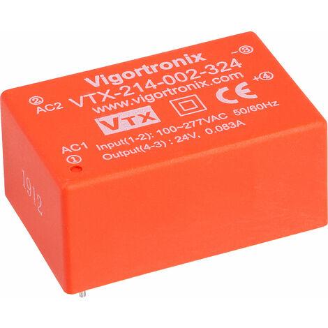 Vigortronix VTX-214-002-324 2W HIGH PERFORMANCE AC-DC CONVERTER 85-305V - 24V