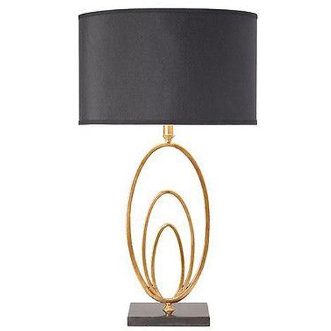 Vilana Table Lamp Paint Black Faux Silk Shade - Antique Gold Leaf
