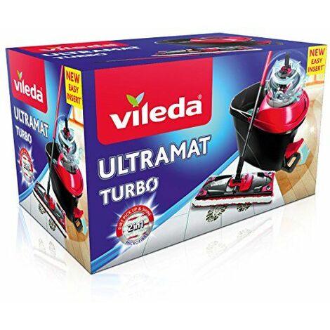 Vileda Komplettset Ultramat Turbo Système de Nettoyage à Plat avec Seau à Pédale+Essoreur, Plastique, Rouge et Noir, 48,6 x 29,3 x 130 cm