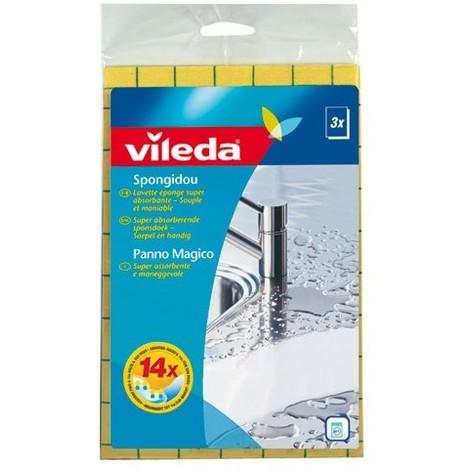VILEDA - Lot de 3 lavettes éponge super absorbantes Spongidou