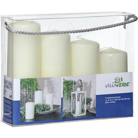Villa Verde Stumpenkerzen Set champagner, Höhe 12/14/16/18 cm, Ø 6 cm, 4er Pack