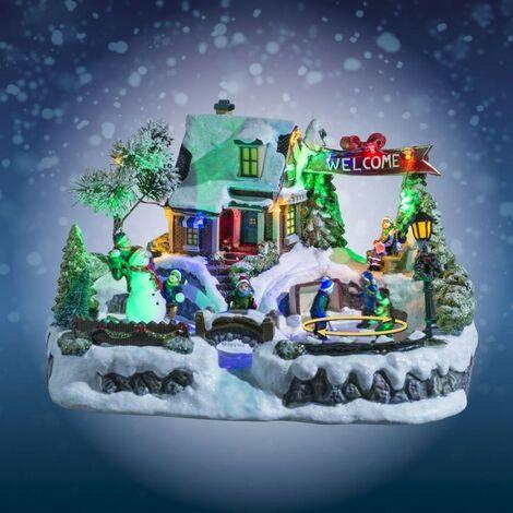 Village de Noël animé et lumineux intérieur - Multicolore