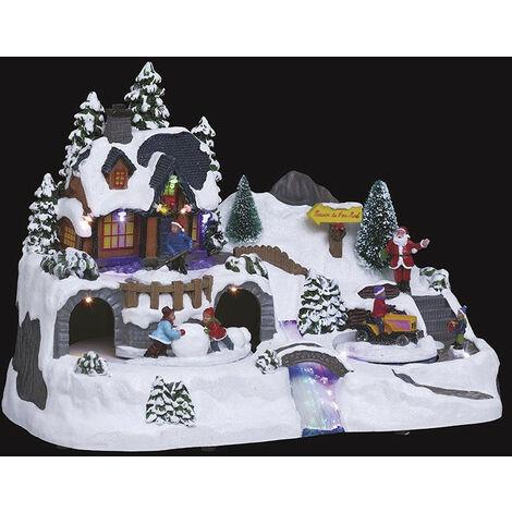 Village de noël animé et lumineux tracteur et boule de neige - Multicolore