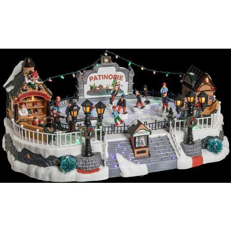 Village de Noël animé lumineux et musical Patinoire - Blanc - Blanc