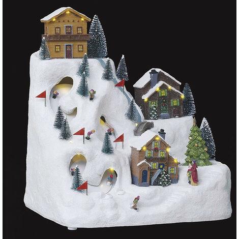Village de noël animé, lumineux et musical piste de ski montagne - Multicolore