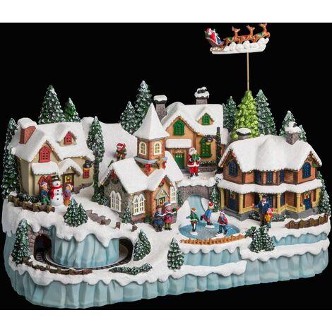 Village de Noël animé lumineux et musical Ville - Blanc - Blanc
