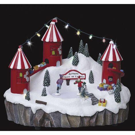 Village de Noël Atelier des cadeaux et patinoire - Multicolore