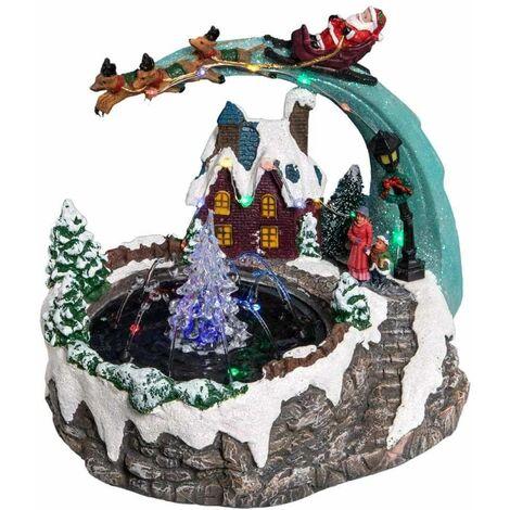 Village de Noël fontaine à eau lumineuse Multicolore