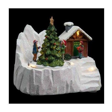 Village de Noël - L 16,5 cm x l 11,5 cm - Sapin et chalets - Livraison gratuite