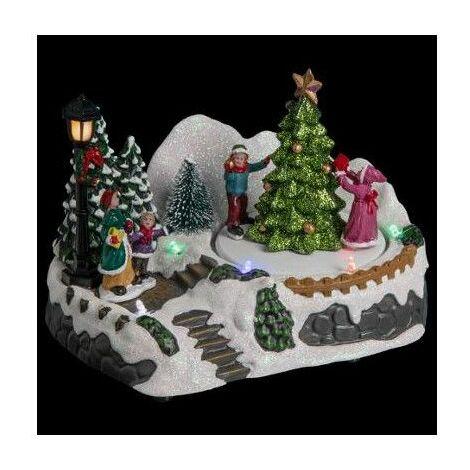 Village de Noël - L 18 cm x l 12,5 cm - Enfants autour d'un sapin - Livraison gratuite