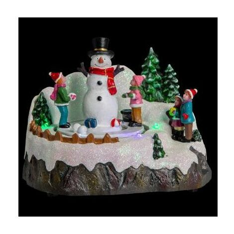 Village de Noël - L 18 cm x l 12,5 cm - Enfants et bonhomme de neige - Livraison gratuite