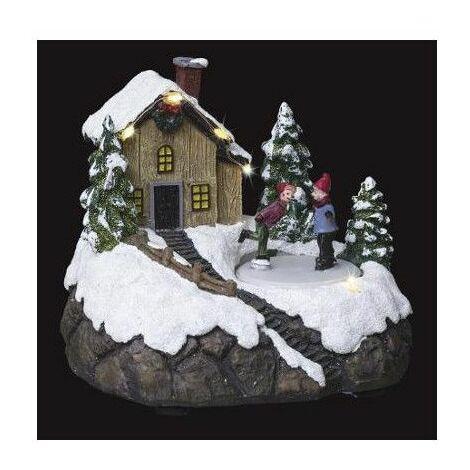 Village de Noël - L 18 cm x l 15,5 cm - Patinoire et chalet - Livraison gratuite