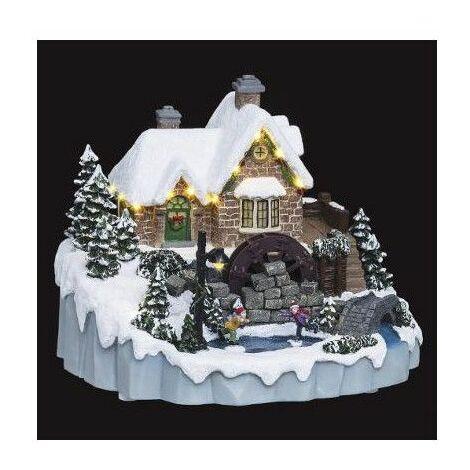 Village de Noël - L 23 cm x l 27 cm - Moulin à eau - Livraison gratuite