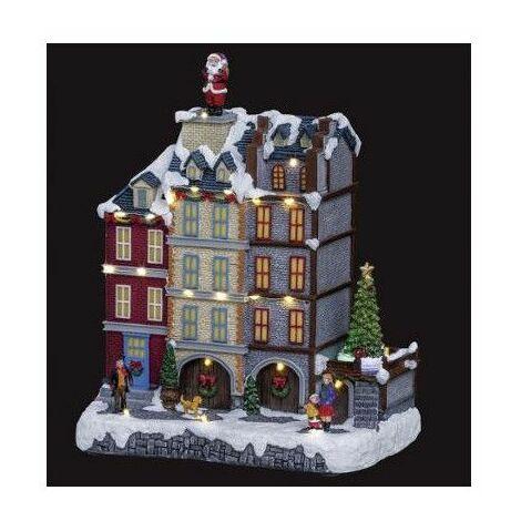 Village de Noël - L 27 cm x l 18 cm - Magasins - Livraison gratuite
