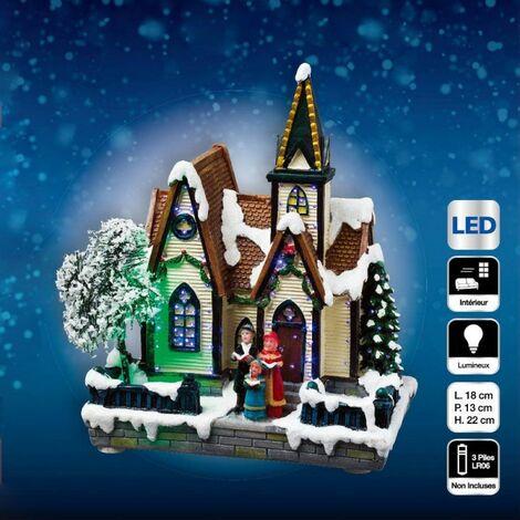 Village de Noël lumineux église - A pile