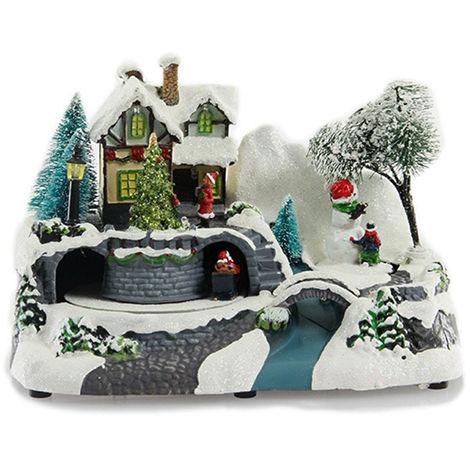 Village de Noël lumineux Père Noël et ses rennes + enfants- Jardideco