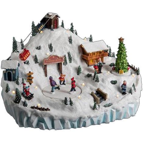 Village de Noël lumineux / station de ski - L.28 x l.20 x H.21 cm -PEGANE-