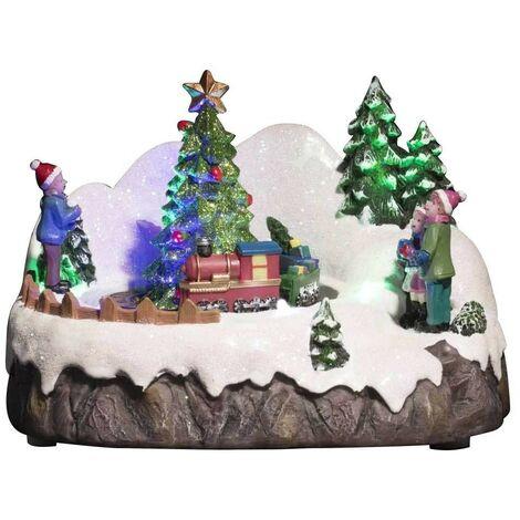 Village de Noel lumineux train animé