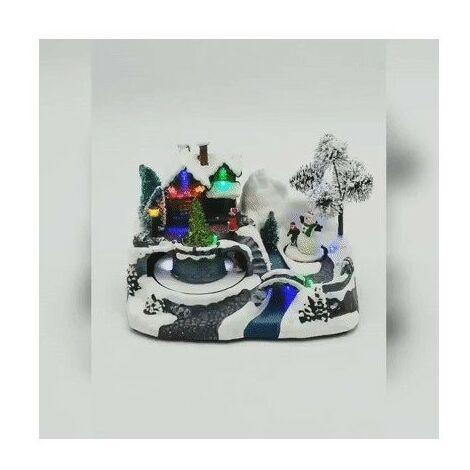 Village de Noël maison avec bonhomme de neige