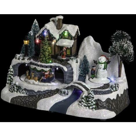 Village de Noël Maison avec Pere Noël et Son Traineau tournant Feeric Light & Christmas
