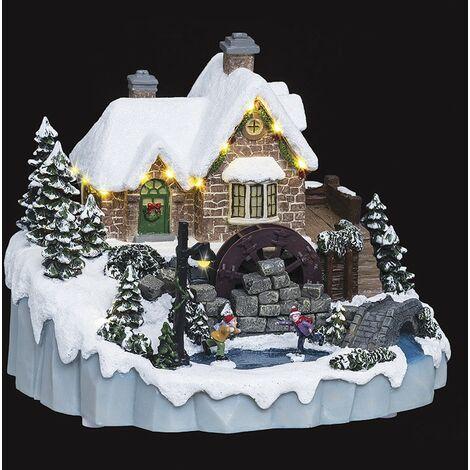Village de Noël moulin à eau musical/lumineux/mouvement d'eau - Multicolore