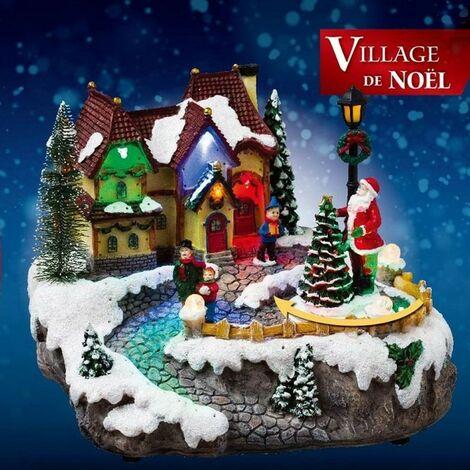 Village de Noël sapins et maison animé - A pile