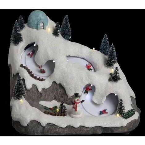 Village Noël courses luges lumineux animé musical - Multicolore