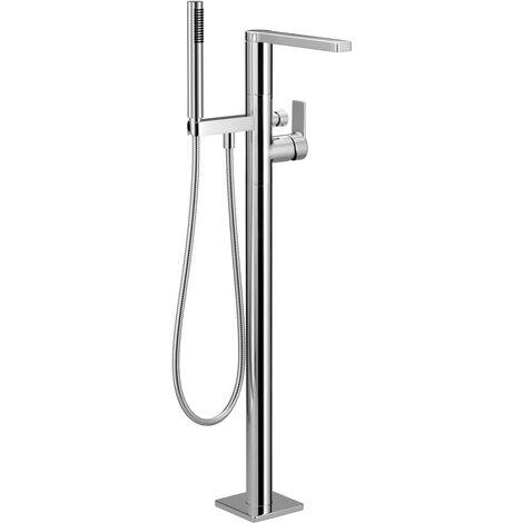 Villeroy &amp Boch JUST Mitigeur monocommande de baignoire avec colonne pour montage indépendant avec ensemble de douche, chrome - 25863965-00