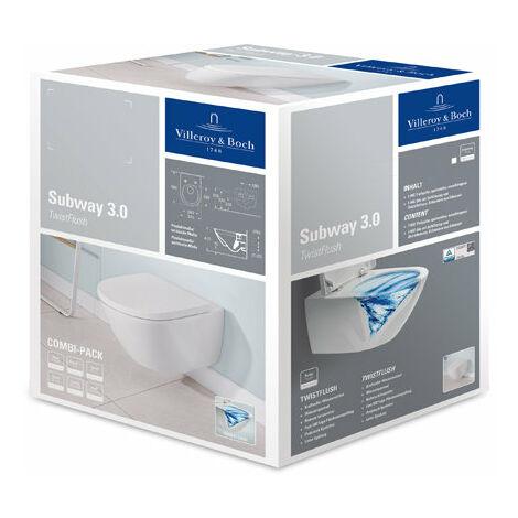 Villeroy &amp Boch Subway 3.0 washdown WC Combi-Pack, sans rebord, TwistFlush, 370 x 560 mm, 4670TS, Coloris: Céramique blanche plus - 4670TSR1
