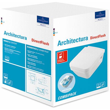 Villeroy & Boch Architectura Combi-Pack Wash-down WC 5685HR DirectFlush, incl. asiento de WC, White Alpine, color: Cerámica Blanca - 5685HRR1