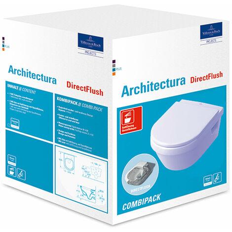 Villeroy & Boch Architectura Combi-Pack washdown WC DirectFlush (borde de descarga abierto) incl. asiento de WC con función de cierre suave, White Alpine, color: Blanco - 5684HR01
