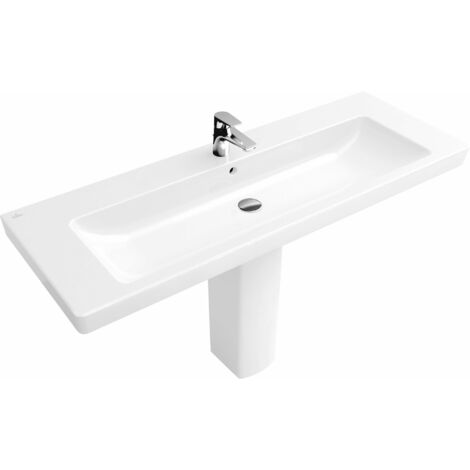 Villeroy & Boch cupboard washbasin Subway 7176D0 1300x470mm, with overflow, 1 tap hole, colour: White - 7176D001