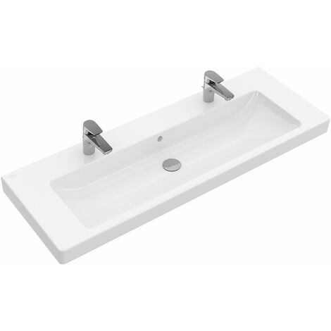 Villeroy & Boch cupboard washbasin Subway 7176D2 1300x470mm, with overflow, 2 tap holes, colour: White - 7176D201