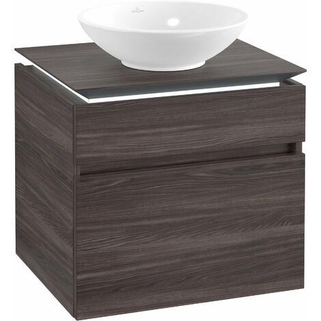 Villeroy & Boch Legato Meuble sous-lavabo B121L0, 600x550x500mm, Centre lavabo, éclairage LED, Coloris: Chêne Graphite - B121L0FQ