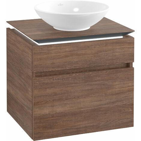 Villeroy & Boch Legato Meuble sous-lavabo B121L0, 600x550x500mm, Centre lavabo, éclairage LED, Coloris: Chêne Santana - B121L0E1