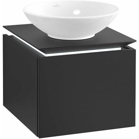 Villeroy & Boch Legato Vanity unit B100, 450x380x500mm, washbasin centre, LED lighting, colour: Black Matt Lacquer - B100L0PD