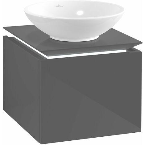 Villeroy & Boch Legato Vanity unit B100, 450x380x500mm, washbasin centre, LED lighting, colour: Glossy Grey - B100L0FP