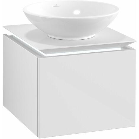 Villeroy & Boch Legato Vanity unit B100, 450x380x500mm, washbasin centre, LED lighting, colour: Glossy White - B100L0DH