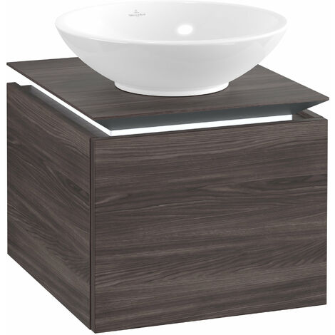 Villeroy & Boch Legato Vanity unit B100, 450x380x500mm, washbasin centre, LED lighting, colour: Oak Graphite - B100L0FQ