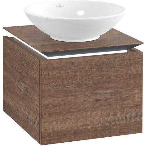 Villeroy & Boch Legato Vanity unit B100, 450x380x500mm, washbasin centre, LED lighting, colour: Santana Oak - B100L0E1