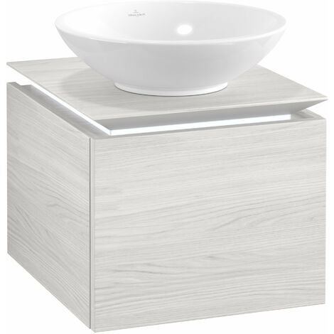 Villeroy & Boch Legato Vanity unit B100, 450x380x500mm, washbasin centre, LED lighting, colour: white wood - B100L0E8