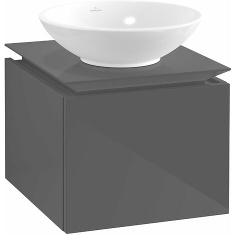 Villeroy & Boch Legato Vanity unit B100, 450x380x500mm, washbasin centric, colour: Glossy Grey - B10000FP