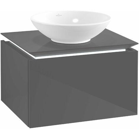 Villeroy & Boch Legato Vanity unit B101, 600x380x500mm, lavabo central, iluminación LED, color: Gris brillante - B101L0FP