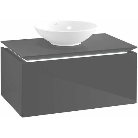 Villeroy & Boch Legato Vanity unit B103L0, 800x380x500mm, centrada en el lavabo, iluminación LED, color: Gris brillante - B103L0FP
