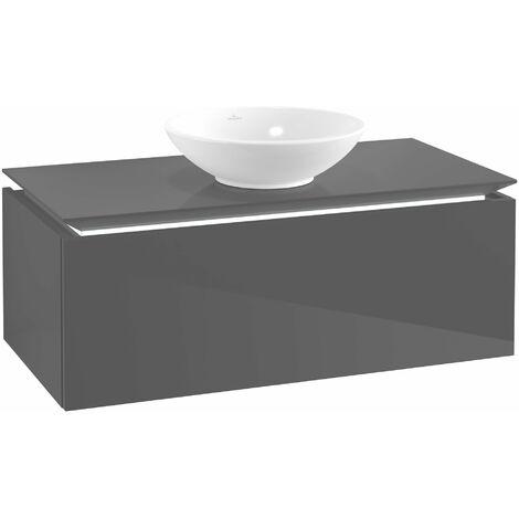 Villeroy & Boch Legato Vanity unit B104, 1000x380x500mm, centrada en el lavabo, iluminación LED, color: Gris brillante - B104L0FP