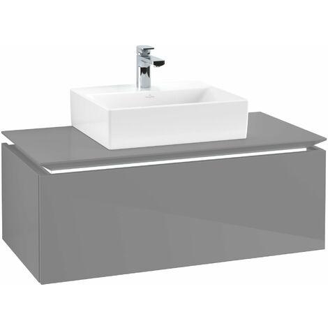 Villeroy & Boch Legato Vanity unit B105L0, 1000x380x500mm, centro lavabo, iluminación LED, color: Gris brillante - B105L0FP