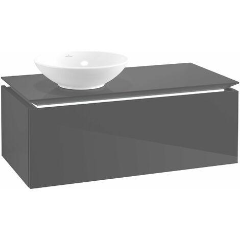 Villeroy & Boch Legato Vanity unit B106, 1000x380x500mm, lavabo a la izquierda, iluminación LED, color: Gris brillante - B106L0FP